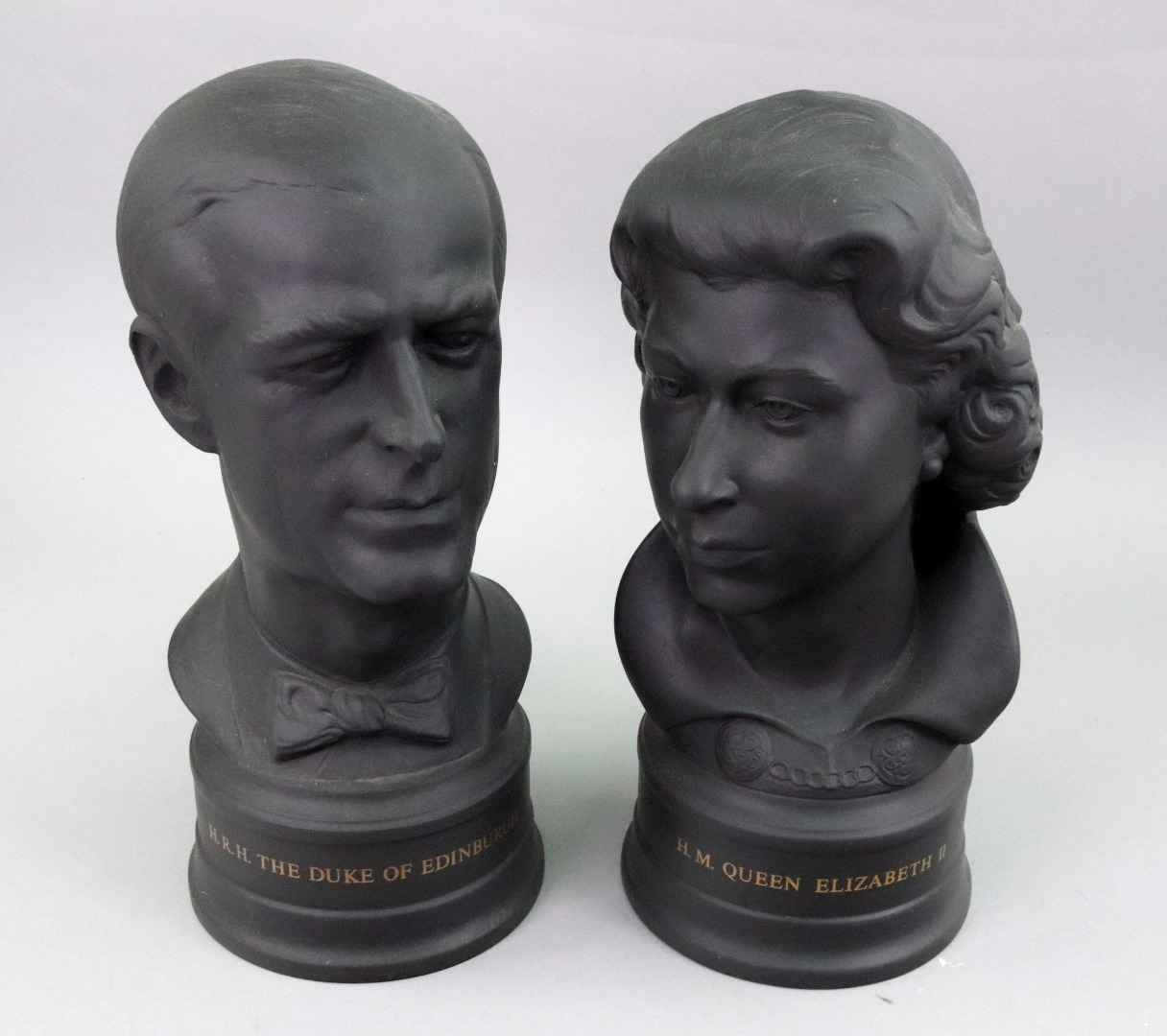 A pair of Wedgwood black basalt busts of... Image