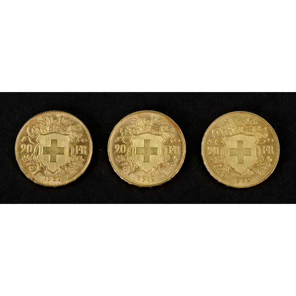Switzerland, three gold 20-Francs, 1918,... Image