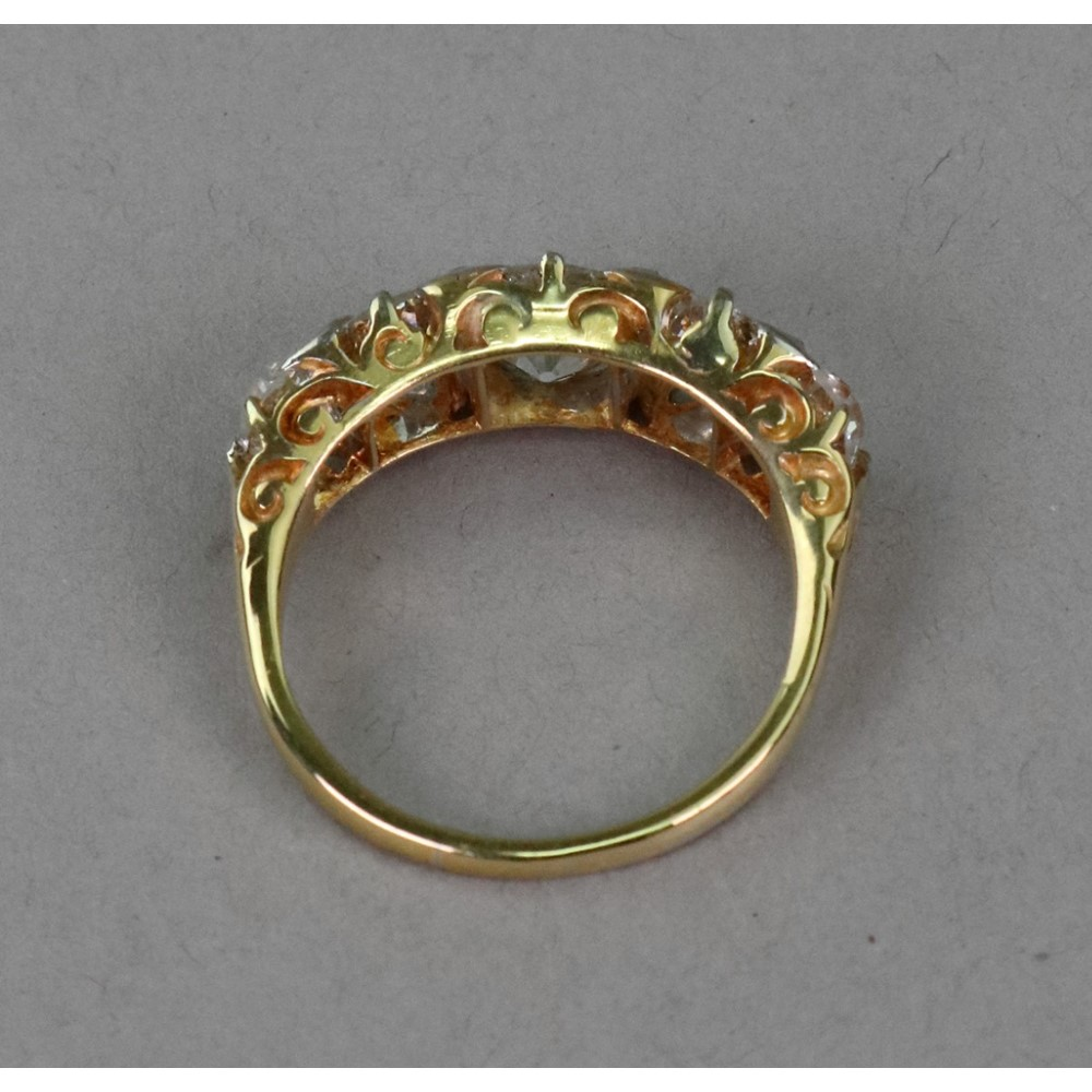 A late Victorian gold and diamond five... Image
