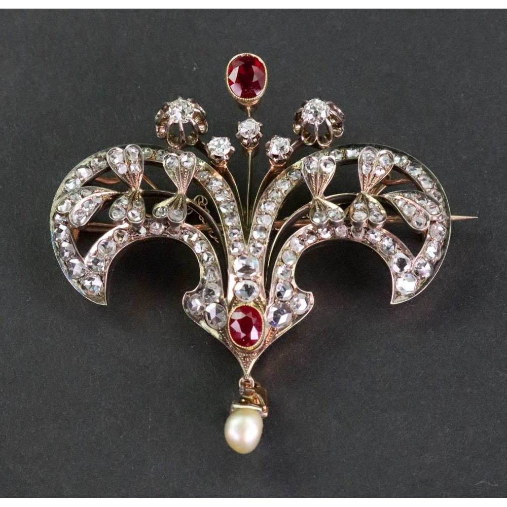 A late Victorian gold, synthetic-ruby... Image