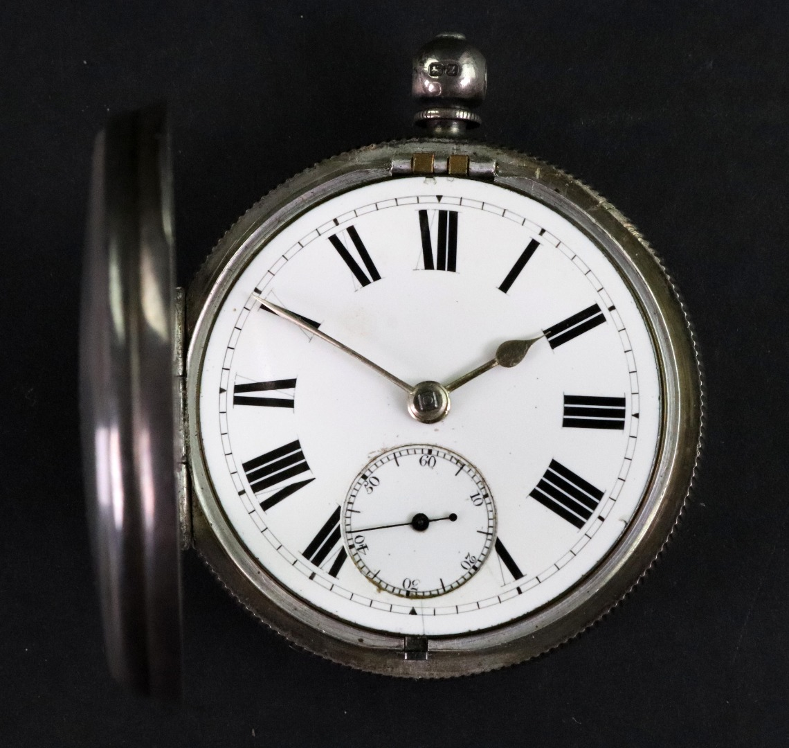 A late Victorian silver cased open face... Image