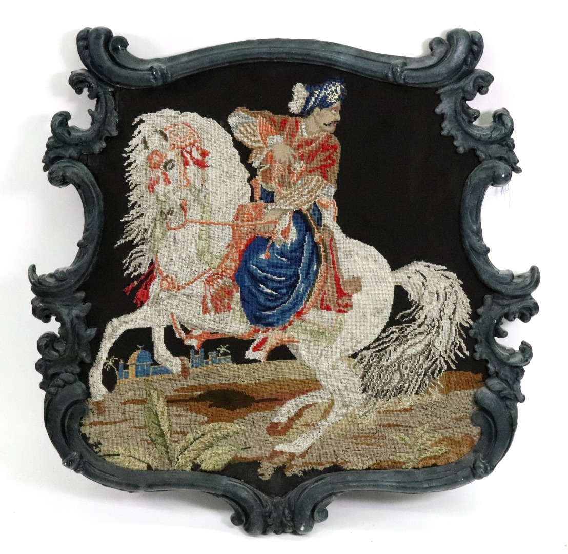 A late Regency style pole screen, the... Image