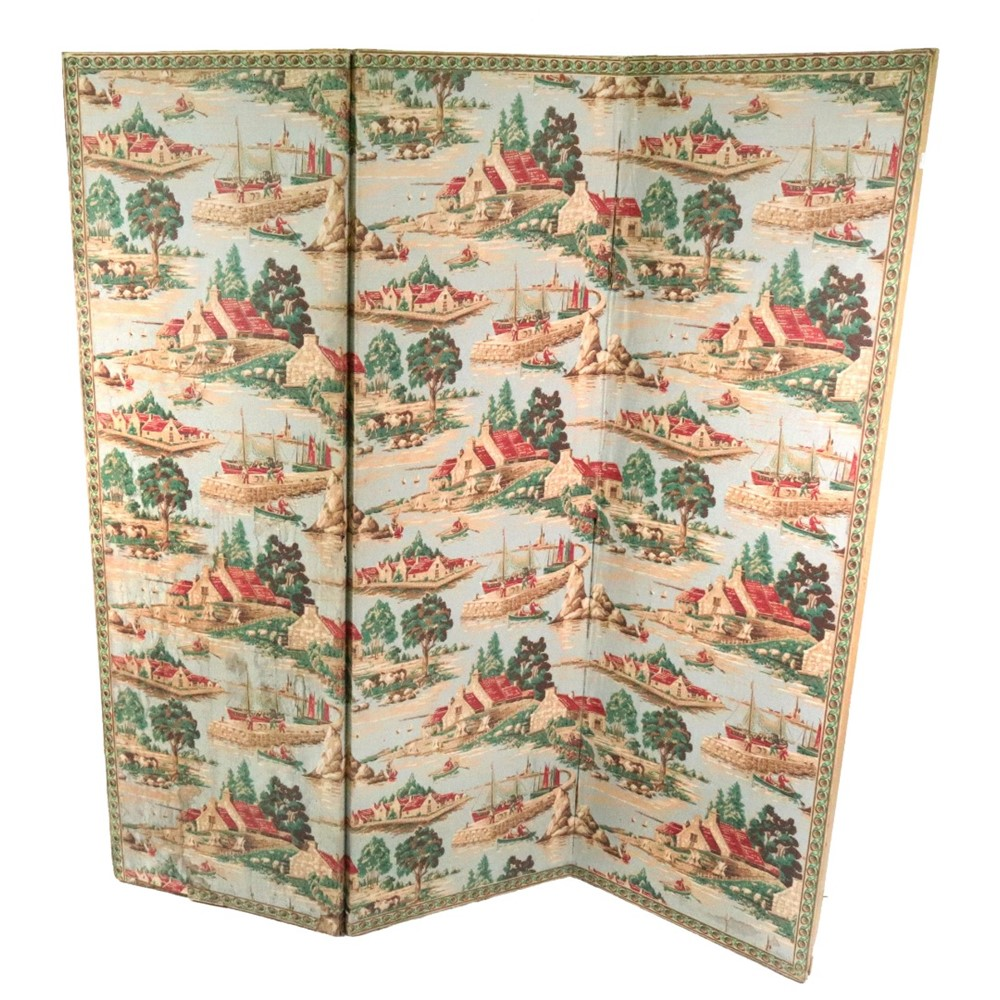 A French three-fold screen, late 19th... Image
