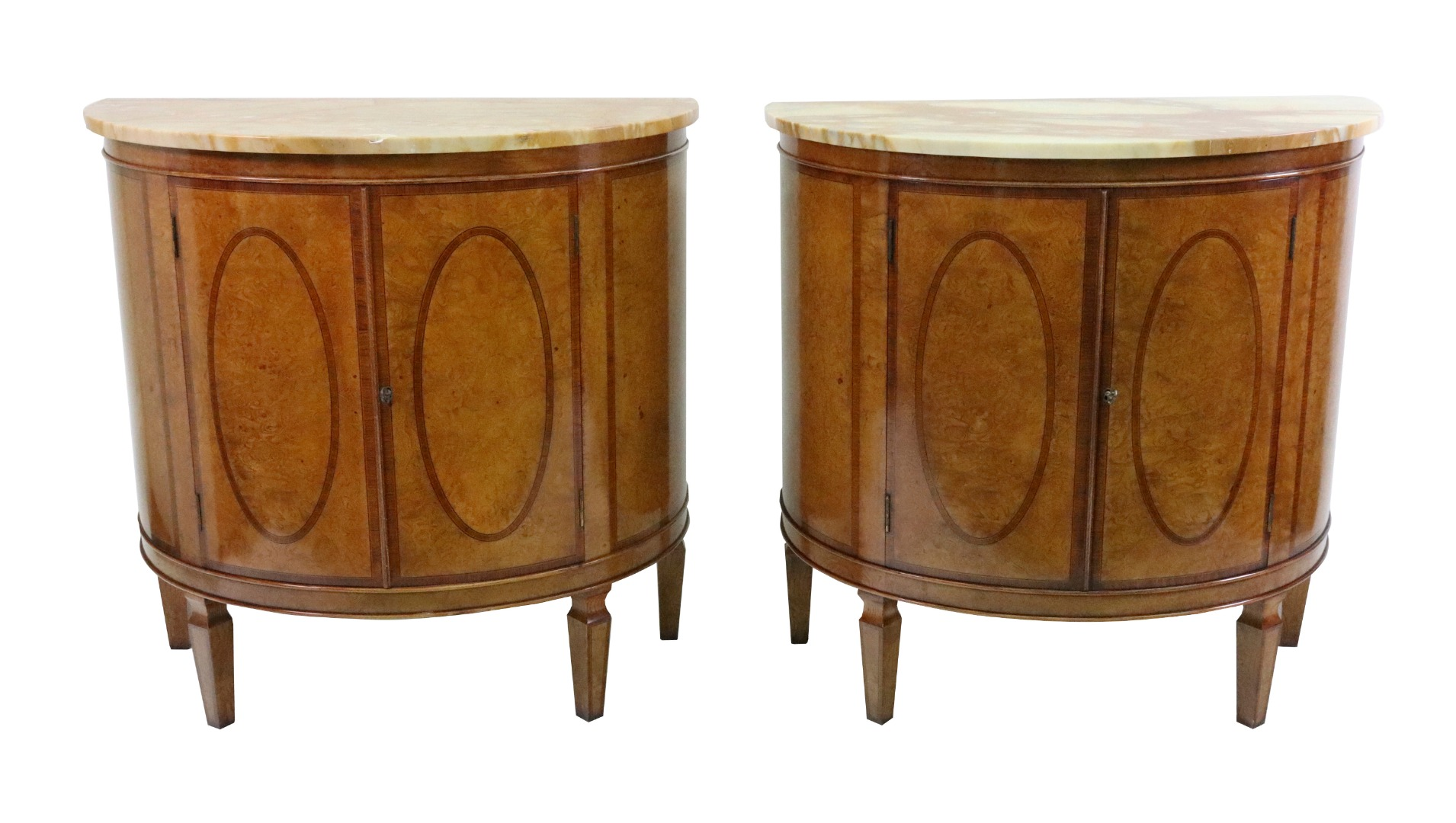 A pair of George III style burr ash... Image
