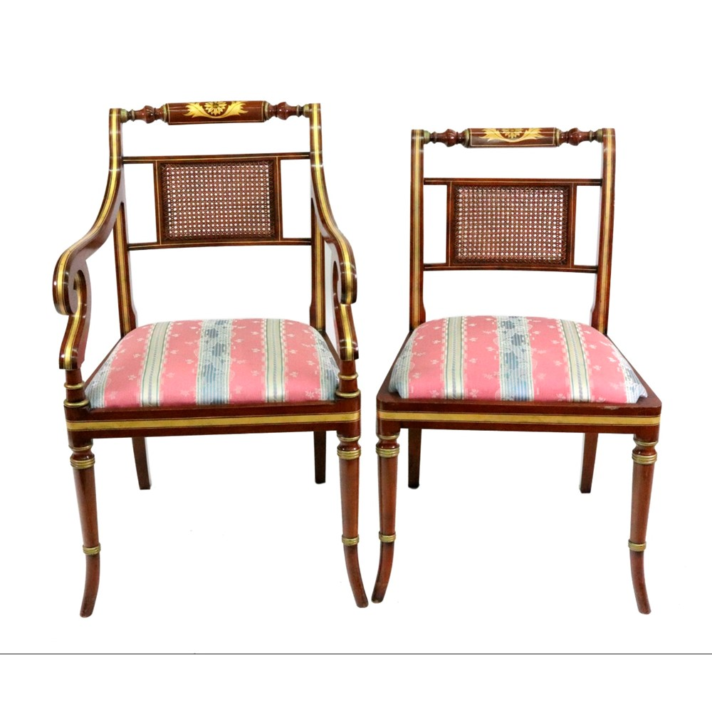 A set of ten Regency style mahogany and... Image