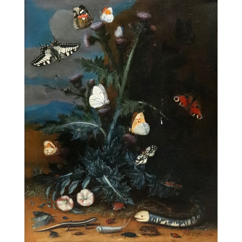 J. R. Le Blan (Flemish, 18th Century), Still life of a thistle, a snake, a lizard, butterflies, a... Image