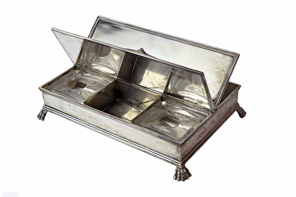 A silver reproduction Treasury Inkstand,... Image