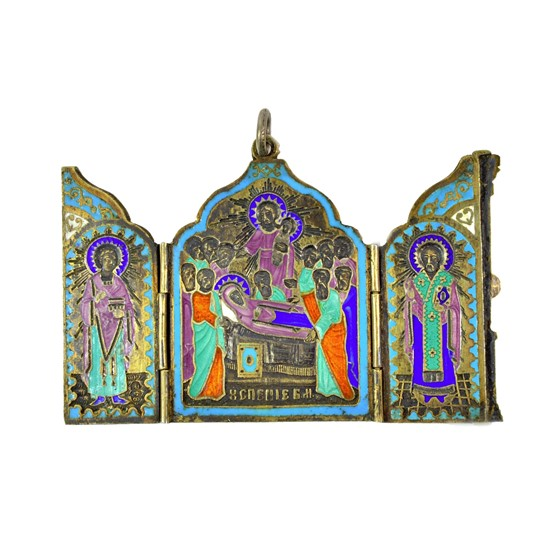 A Russian silver enamel triptych icon,... Image