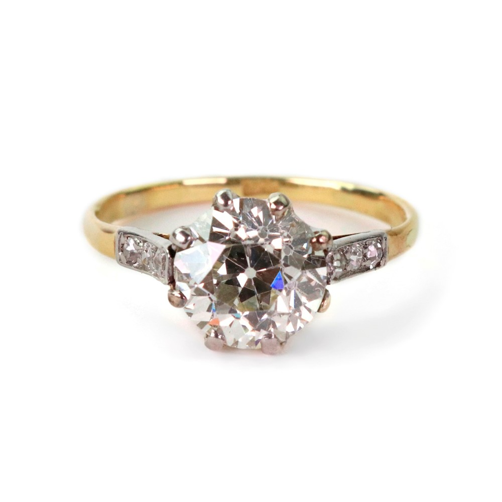 A single stone old-cut diamond ring,... Image
