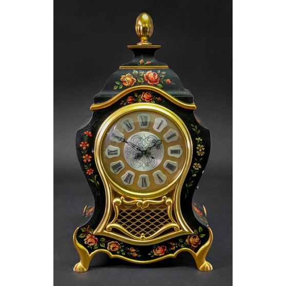 Jaeger-LeCoultre Atmos; a bracket clock, in mid 18th century style, the shaped black lacquered... Image