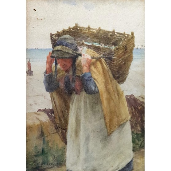 Walter Langley (British, 1852-1922), A woman carrying a basket, signed 'W Langley' (lower left),... Image