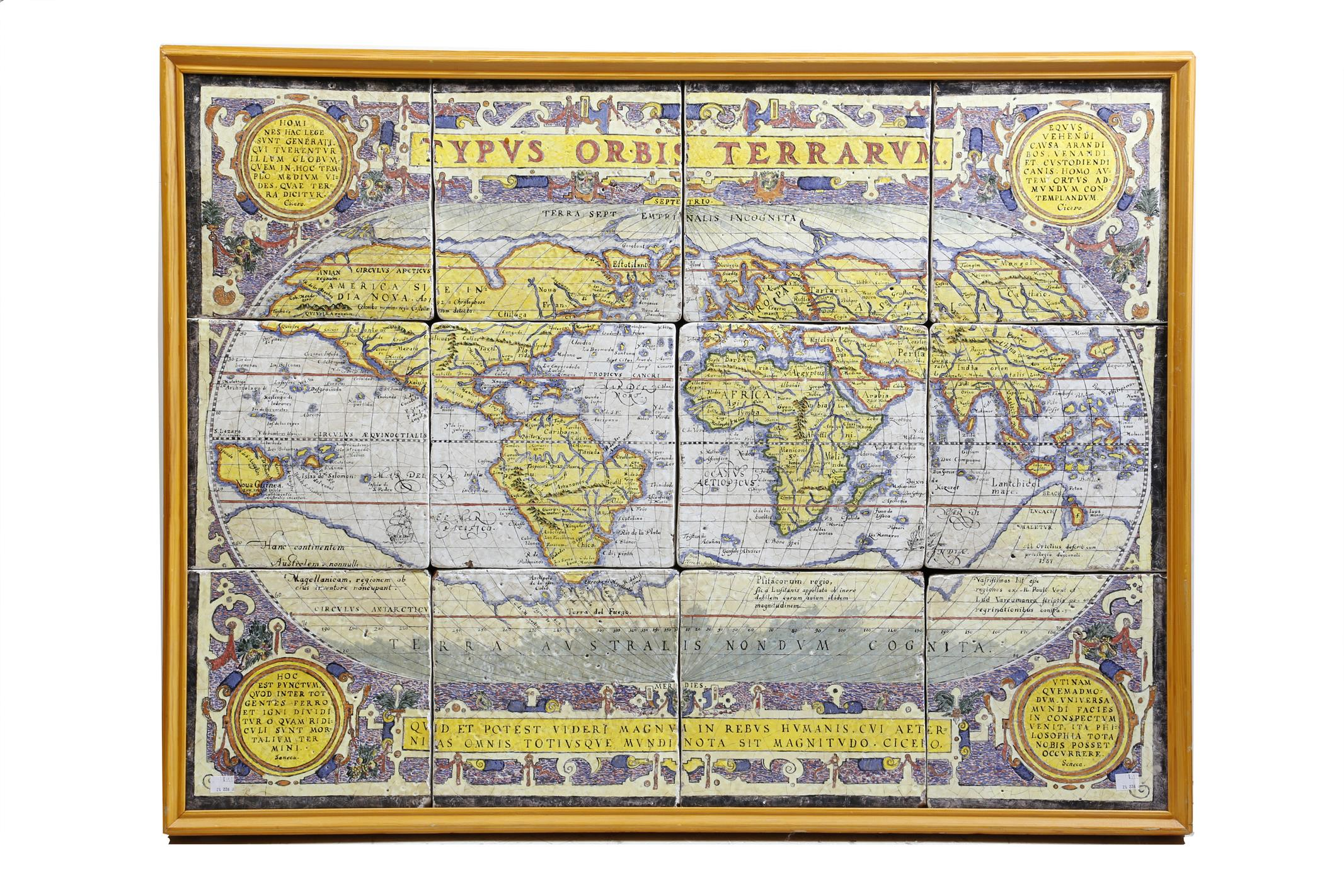 After abraham ortelius flemish lot 443 furniture works of art typus orbis terrarum a continental tin glazed pottery tile map of the world of twelve brightly coloured panels and with latin inscriptions from cicero gumiabroncs Image collections