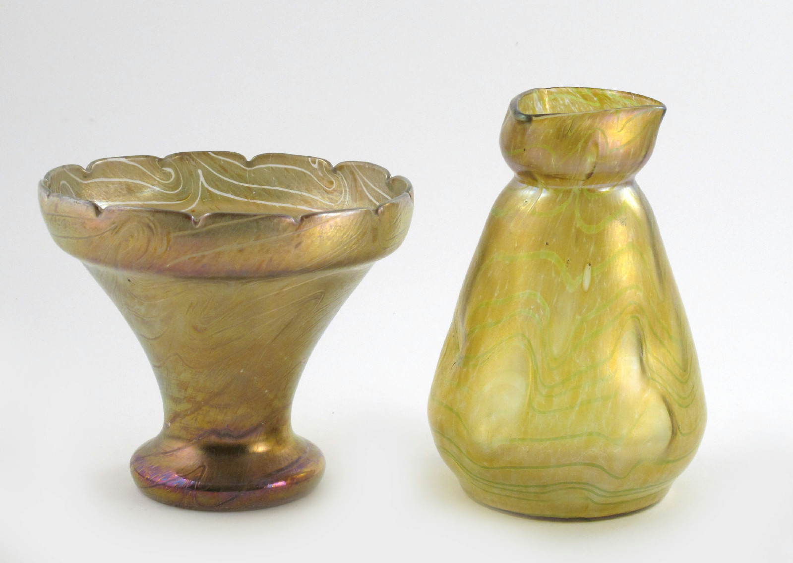 A kralik glass vase lot 1020 19th and 20th century design a kralik glass vase tapering form with pinched trilobe neck covered in a veined golden iridescent glass finish and another kralik vase unsigned 24cm reviewsmspy
