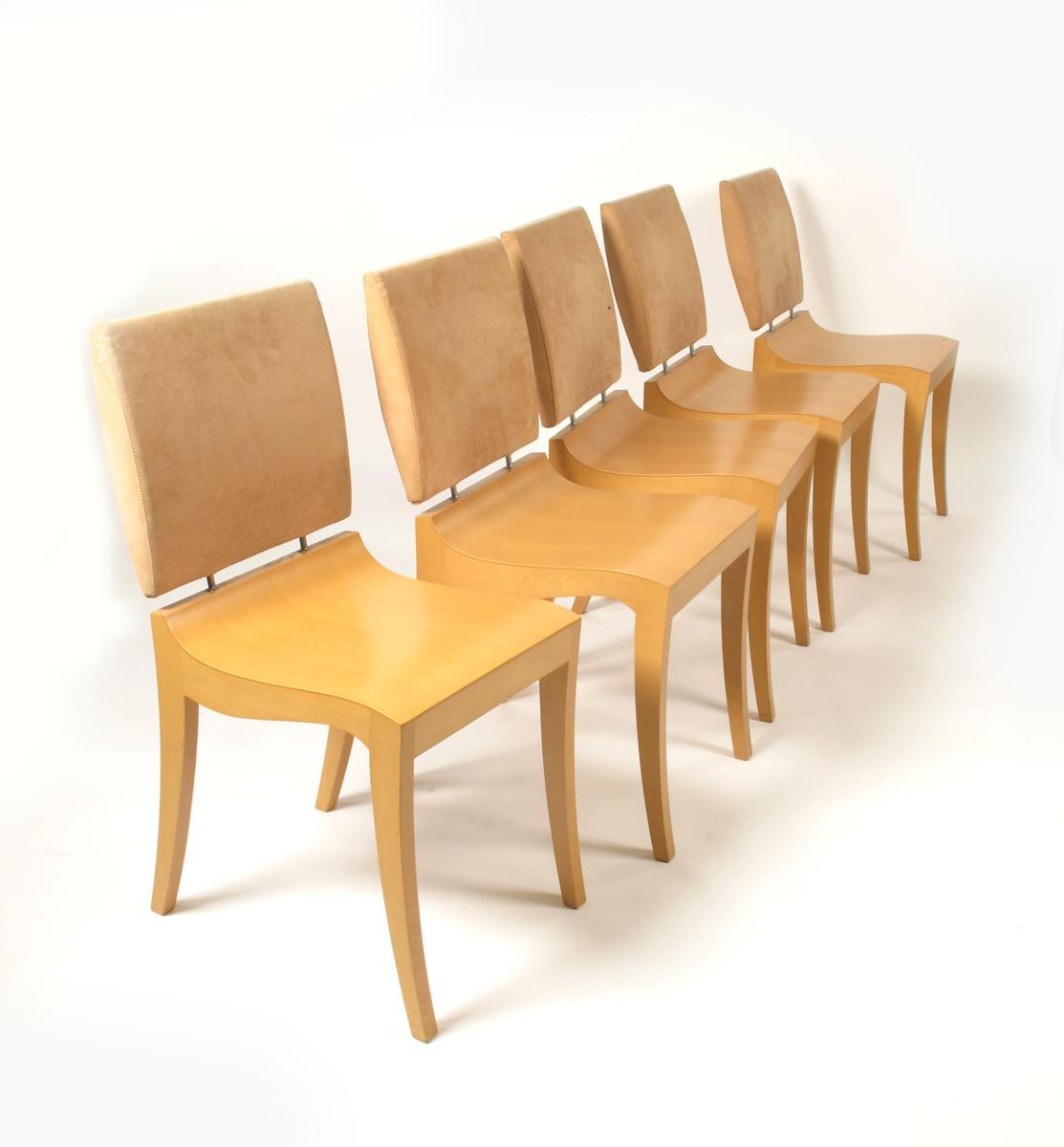 A Set Of Six Ligne Roset Finn Dining Chairs, Designed By Thibault Desombre,  Veneer With Leather Padded Backs, Original Label 88cm. High