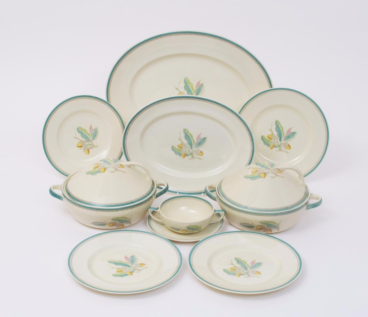 ... pattern no.1398 painted in colours on a cream ground comprising; three graduated platters two tureen and covers a sauce boat eight dinner plates ...  sc 1 st  Woolley and Wallis & Acorn\u0027 a Susie Cooper Productions dinner service designed by Susie ...