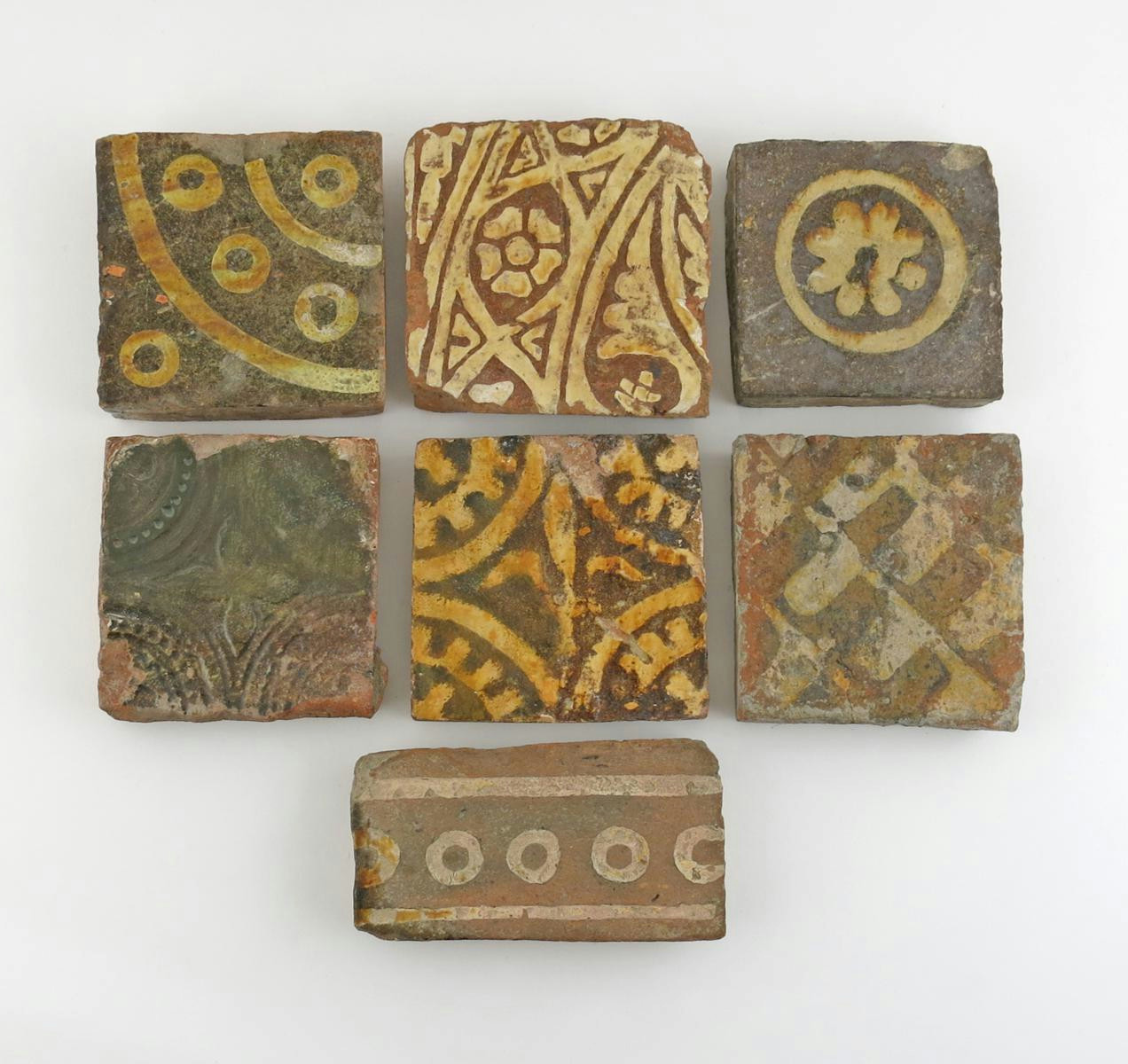 Seven medieval encaustic floor tiles c13th 15th century lot 217 english and european ceramics and glass lot 217 dailygadgetfo Images
