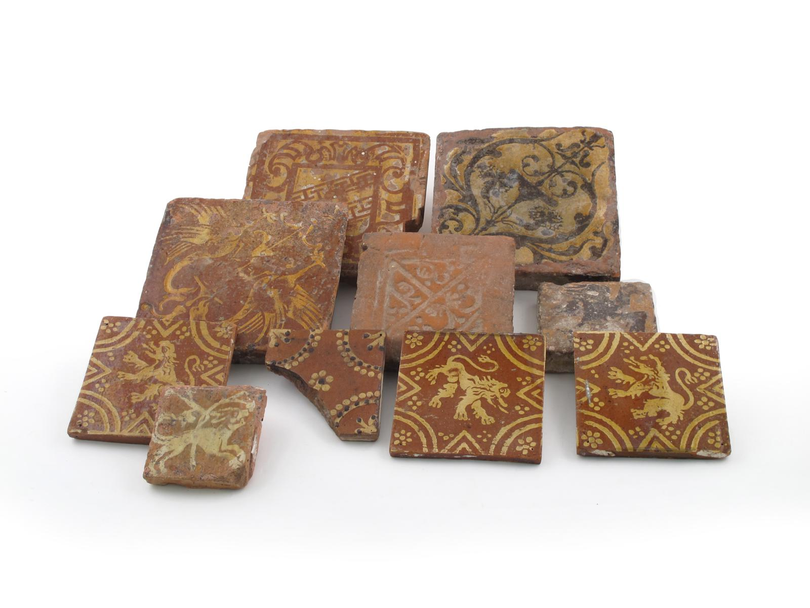 Ten encaustic and slipware tiles medieval and later lot 299 english european ceramics glass lot 299 dailygadgetfo Images