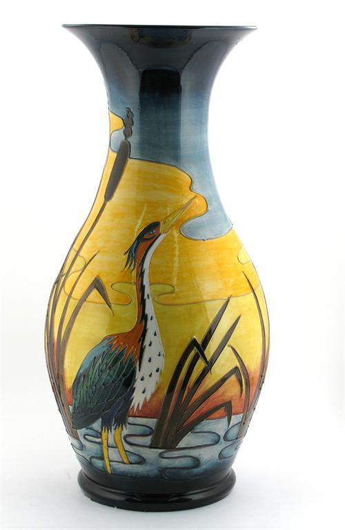 Heron - Reeds at Sunset\' a large Moorcroft Pottery vase designed by ...