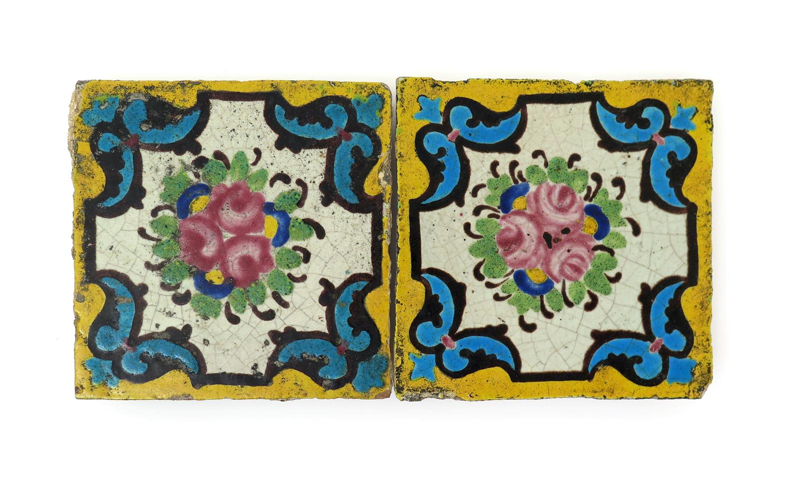 Two qajar pottery tiles late 19th century lot 1125 english and english and european ceramics and glass lot 1125 dailygadgetfo Images