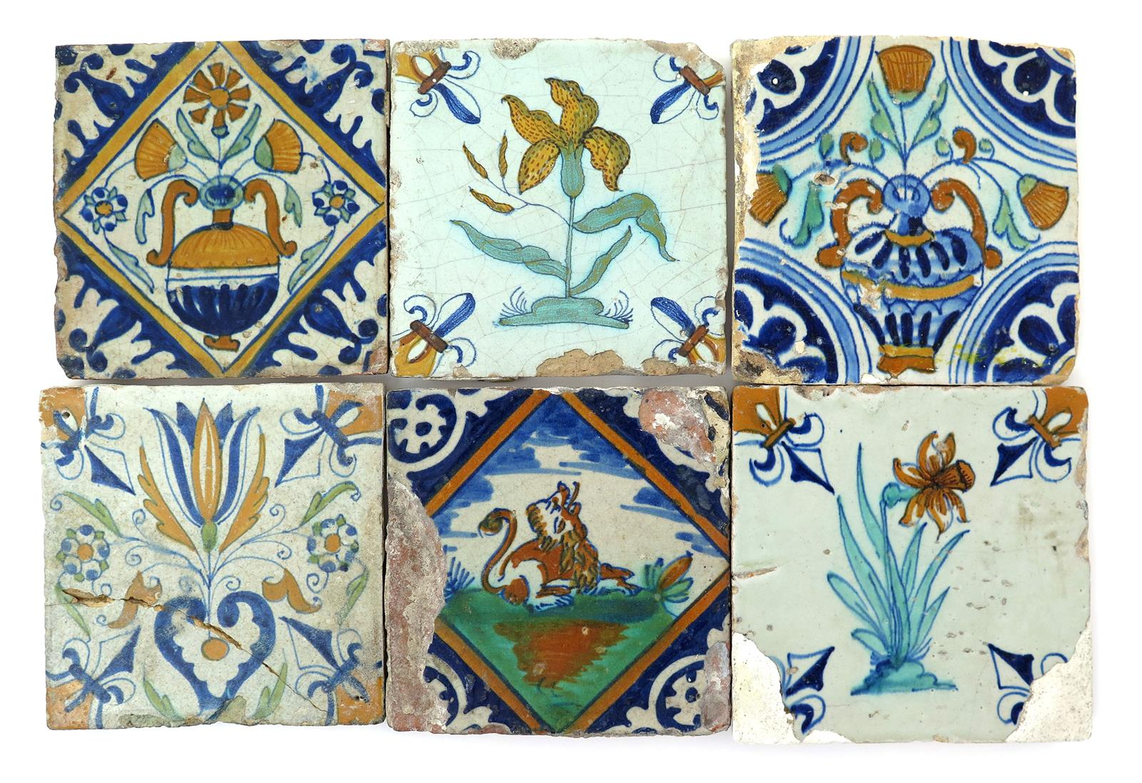 Six delft tiles early 17th century lot 1141 english and european english and european ceramics and glass lot 1141 dailygadgetfo Images