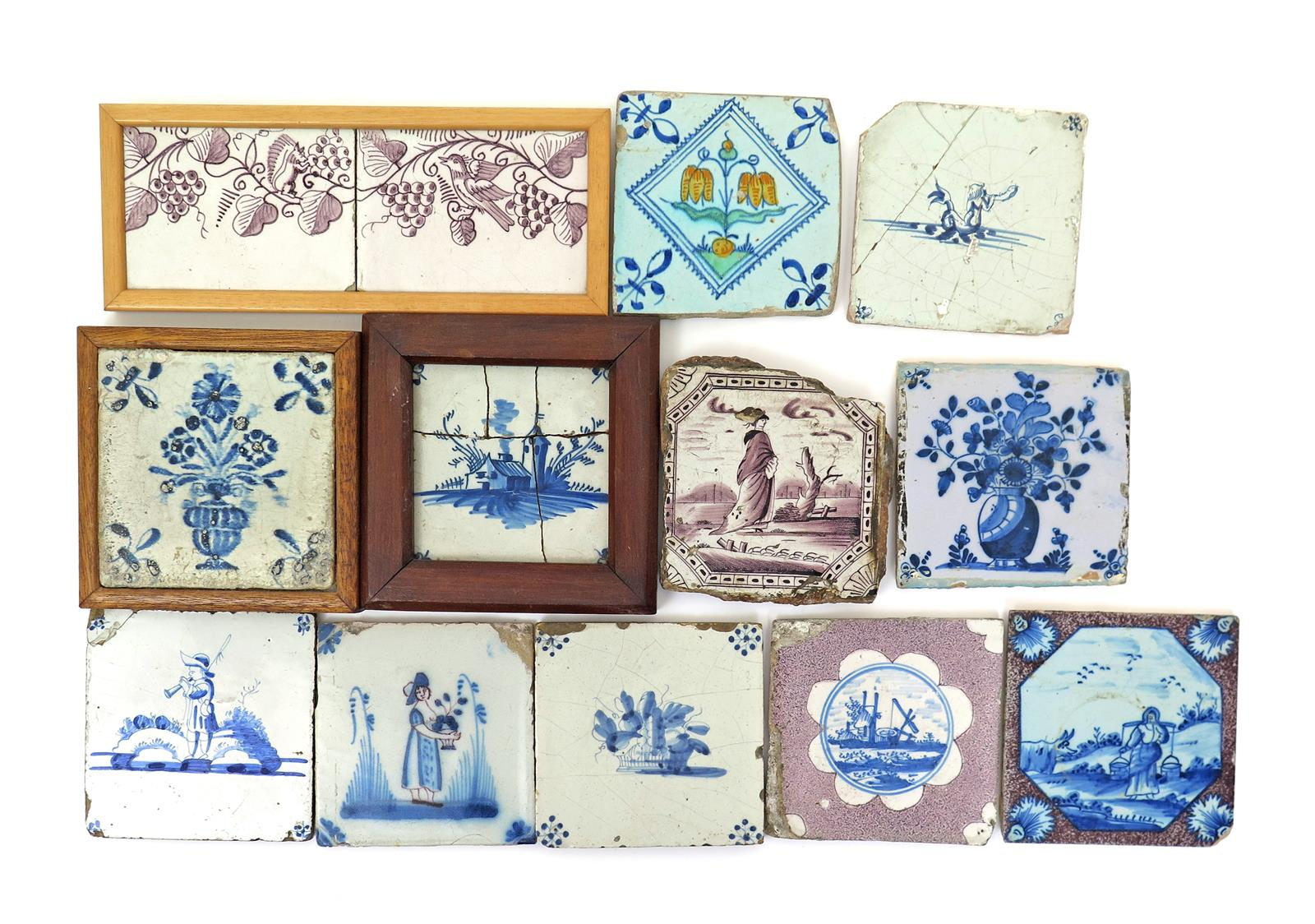 Eleven various english and continental tin glazed tiles mostly 18th eleven various english and continental tin glazed tiles mostly 18th century variously decorated in blue and manganese with baskets and vases of flowers dailygadgetfo Images