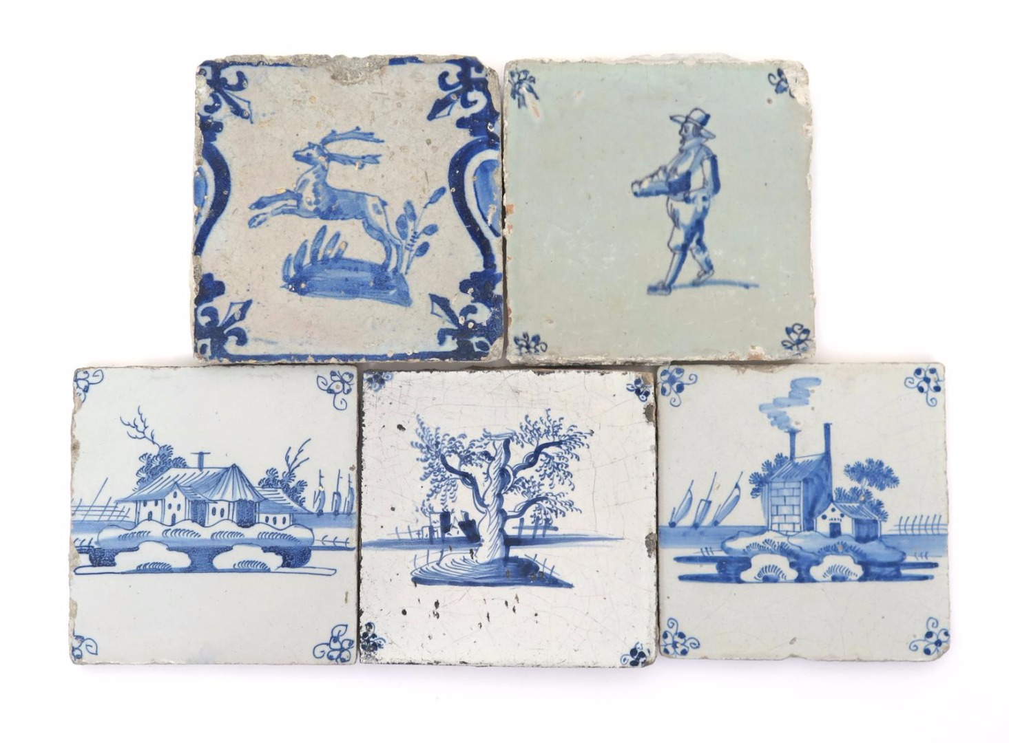 Five delft tiles 17th and 18th centuries lot 187 english english european ceramics glass lot 187 dailygadgetfo Images